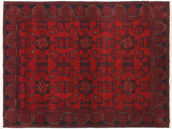 "A11294, 4' 3"" X  6' 3"",Geometric                     ,4' x 6',Burgundy,BLACK,Hand-knotted                  ,Afghanistan,100% Wool  ,Rectangle  ,652671198779"