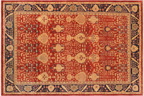 "A01130, 9'10"" X 13' 9"",Transitional                  ,10' x 14',Rust,BLUE,Hand-knotted                  ,Pakistan   ,100% Wool  ,Rectangle  ,652671132384"