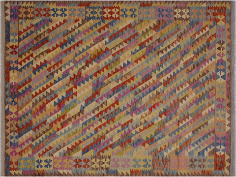 "A11315, 6' 7"" X  9' 9"",Geometric                     ,7' x 10',Brown,BLUE,Hand-woven                    ,Afghanistan,100% Wool  ,Rectangle  ,652671208843"