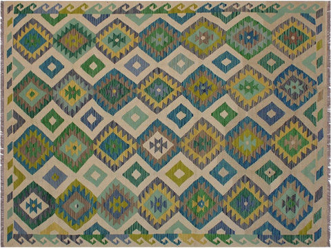 "A11325, 5' 6"" X  8' 1"",Geometric                     ,6' x 8',Natural,GREEN,Hand-woven                    ,Afghanistan,100% Wool  ,Rectangle  ,652671208942"