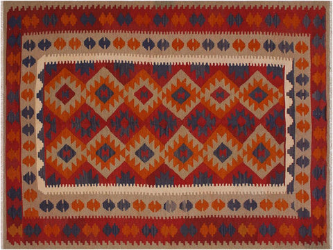 "A11382, 6' 6"" X  9' 1"",Geometric                     ,7' x 9',Rust,BROWN,Hand-woven                    ,Afghanistan,100% Wool  ,Rectangle  ,652671209499"