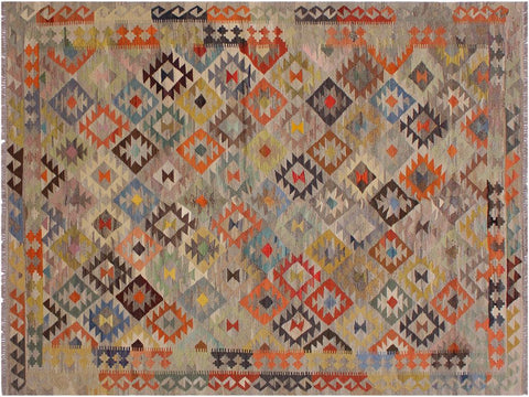 handmade Geometric Kilim Grey Orange Hand Woven RECTANGLE 100% WOOL area rug 6 x 10