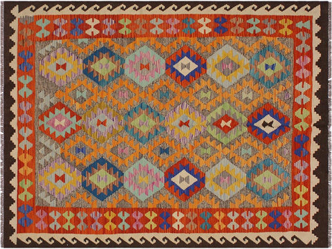 "A11425, 5' 6"" X  7' 7"",Geometric                     ,6' x 8',Brown,IVORY,Hand-woven                    ,Afghanistan,100% Wool  ,Rectangle  ,652671209895"