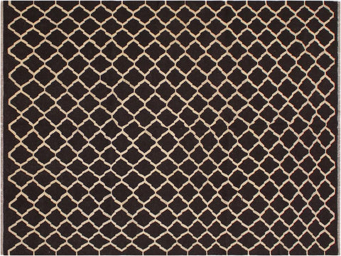 "A11430, 7' 1"" X  9' 9"",Geometric                     ,7' x 10',Black,IVORY,Hand-woven                    ,Afghanistan,100% Wool  ,Rectangle  ,652671209949"