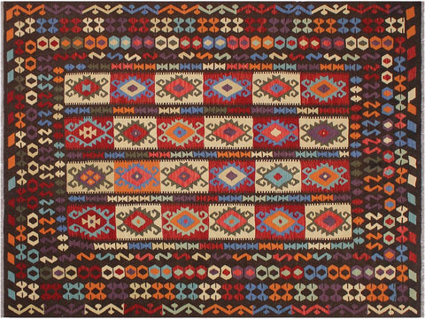 "A11452, 8' 5"" X  9'11"",Geometric                     ,8' x 10',Brown,RUST,Hand-woven                    ,Afghanistan,100% Wool  ,Rectangle  ,652671210150"