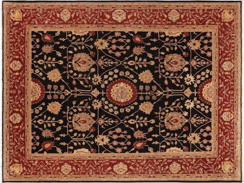 handmade Traditional Kafkaz Black Red Hand Knotted RECTANGLE 100% WOOL area rug 10' x 14'