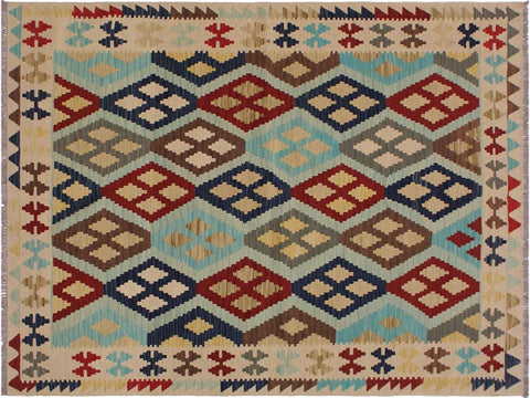 "A11479, 5' 3"" X  6' 8"",Geometric                     ,5' x 7',Natural,BROWN,Hand-woven                    ,Afghanistan,100% Wool  ,Rectangle  ,652671210419"