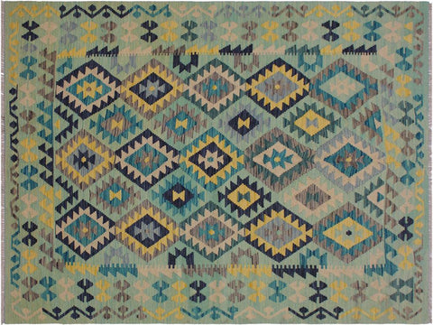 "A11483, 5' 3"" X  6' 9"",Geometric                     ,5' x 7',Green,BLUE,Hand-woven                    ,Afghanistan,100% Wool  ,Rectangle  ,652671210457"