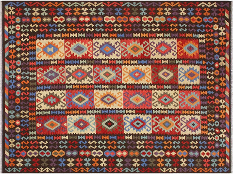"A11487, 8'11"" X 10' 2"",Geometric                     ,9' x 11',Brown,RUST,Hand-woven                    ,Afghanistan,100% Wool  ,Rectangle  ,652671210495"