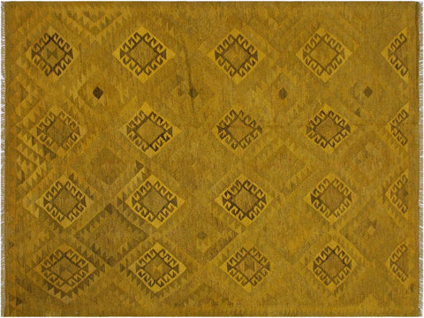 "A11509, 5' 9"" X  8' 4"",Geometric                     ,6' x 8',Yellow,BROWN,Hand-woven                    ,Afghanistan,100% Wool  ,Rectangle  ,652671210662"