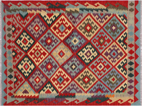 "A11517, 4' 2"" X  5' 8"",Geometric                     ,4' x 6',Red,BEIGE,Hand-woven                    ,Afghanistan,100% Wool  ,Rectangle  ,652671210747"