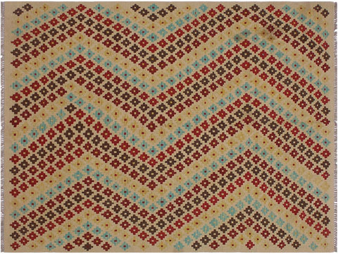 "A11518, 5' 1"" X  6' 8"",Geometric                     ,5' x 7',Tan,RED,Hand-woven                    ,Afghanistan,100% Wool  ,Rectangle  ,652671210754"