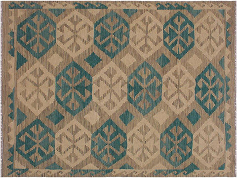 "A11519, 5' 0"" X  6' 7"",Geometric                     ,5' x 7',Grey,GREEN,Hand-woven                    ,Afghanistan,100% Wool  ,Rectangle  ,652671210761"