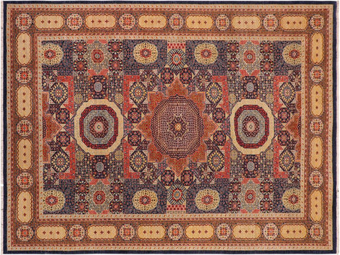 handmade Geometric Mamluk Blue Rust Hand Knotted RECTANGLE 100% WOOL area rug 10 x14 Hand knotted indoor mamluk wool area rug made for all rooms with high quality wool in rich color pallet handmade by skilled artisans in geometric, tribal design with center medallion is known for quality wool and affordable price. Oriental hand made rug offered at cheap discount for any decor one of a kind Mamluk Rug