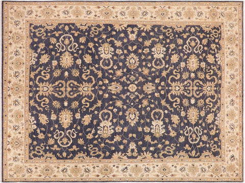 handmade Transitional Kafkaz Drk. Gray Ivory Hand Knotted RECTANGLE 100% WOOL area rug 10' x 14'