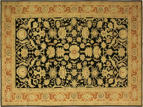 "A01158,10' 0"" X 14' 0"",Traditional                   ,10' x 14',Black,ORANGE,Hand-knotted                  ,Pakistan   ,100% Wool  ,Rectangle  ,652671132650"
