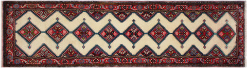 "A11610, 2' 6"" X  9' 9"",Geometric                     ,3' x 10',Natural,RED,Hand-knotted                  ,Iran       ,100% Wool  ,Runner     ,652671208058"