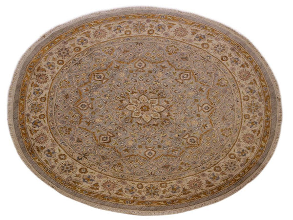 "A11647, 6'11"" X  6'11"",Traditional                   ,7' x 7',Grey,IVORY,Hand-knotted                  ,Afghanistan,100% Wool  ,Round      ,652671208607"