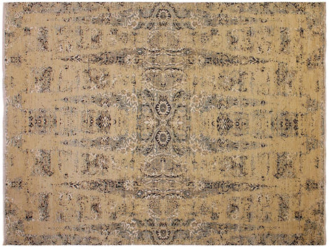 "A11648,10' 0"" X 14' 0"",Modern                        ,10' x 14',Tan,BLUE,Hand-knotted                  ,Afghanistan,Wool&silk  ,Rectangle  ,652671208614"