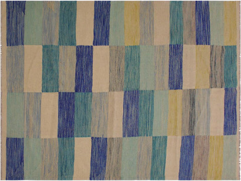 "A11656, 5' 5"" X  7'10"",Geometric                     ,5' x 8',Natural,BLUE,Hand-woven                    ,Pakistan   ,100% Wool  ,Rectangle  ,652671214080"