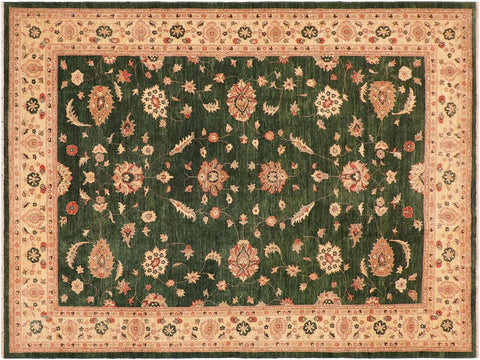 "A01167, 9'11"" X 13'10"",Transitiona,10' x 14',Green,IVORY,Hand-knotted                  ,Pakistan   ,100% Wool  ,Rectangle  ,652671132735"
