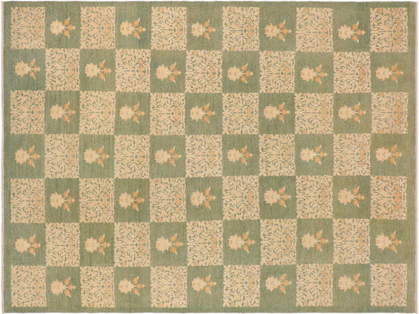 "A01168, 9' 8"" X 13' 5"",Modern     ,10' x 14',Green,GREEN,Hand-knotted                  ,Pakistan   ,100% Wool  ,Rectangle  ,652671132742"