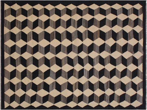 "A11693, 5' 4"" X  6' 8"",Geometric                     ,5' x 7',Black,IVORY,Hand-woven                    ,Pakistan   ,100% Wool  ,Rectangle  ,652671214417"