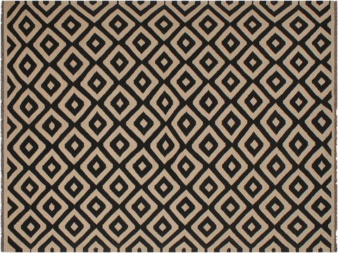 handmade Geometric Kilim Beige Black Hand Woven RECTANGLE 100% WOOL area rug