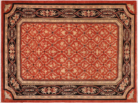 handmade Transitional Kafkaz Rust Black Hand Knotted RECTANGLE 100% WOOL area rug 10' x 14'