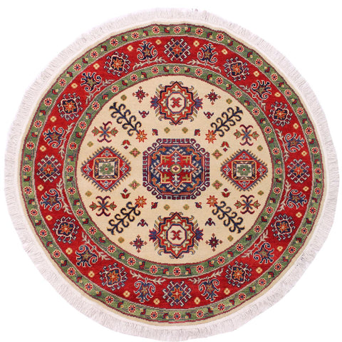 handmade Traditional Kazak Ivory Red Hand Knotted ROUND 100% WOOL area rug 5x5'