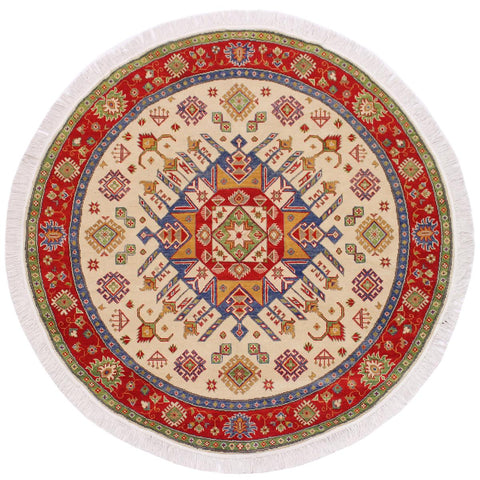handmade Traditional Kazak Ivory Red Hand Knotted ROUND 100% WOOL area rug 6x6'