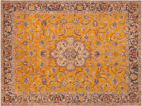 handmade Vintage Hand Painte Orange Blue Hand Knotted RECTANGLE 100% WOOL area rug 10x13'