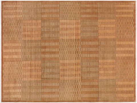 handmade Modern Kafkaz Brown Beige Hand Knotted RECTANGLE 100% WOOL area rug 10 x 13