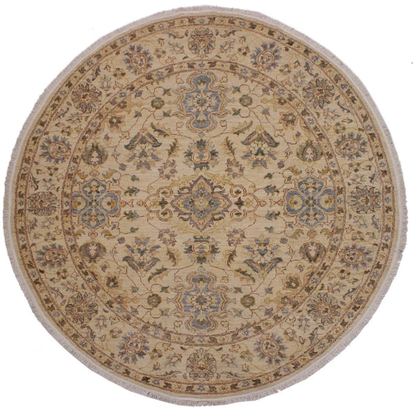 handmade Traditional Kafkaz Ivory Brown Hand Knotted ROUND 100% WOOL area rug 7x7'