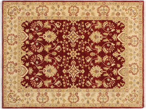 handmade Traditional Kafkaz Red Ivory Hand Knotted RECTANGLE 100% WOOL area rug 4x6'