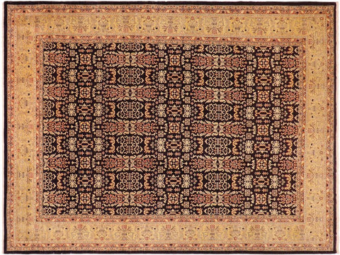 handmade Transitional Kafkaz Blue Gold Hand Knotted RECTANGLE 100% WOOL area rug 10' x 14'