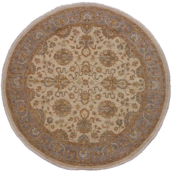 handmade Traditional Kafkaz Ivory Grey Hand Knotted ROUND 100% WOOL area rug 8x8'