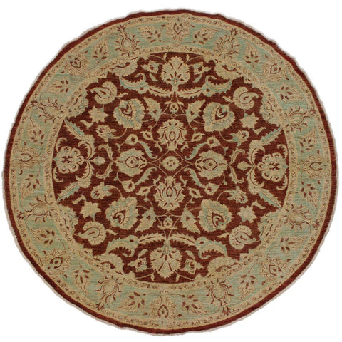 handmade Traditional Kafkaz Brown Green Hand Knotted ROUND 100% WOOL area rug 8x8'