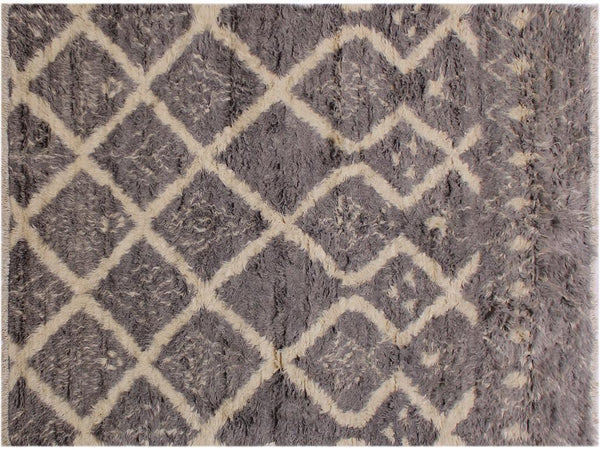 handmade Modern Moroccan Grey Ivory Hand Knotted RECTANGLE 100% WOOL area rug 5x8'