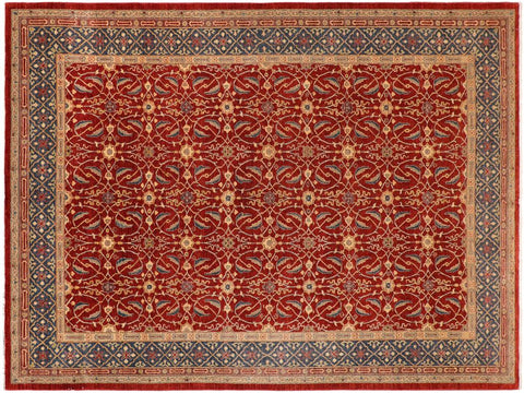 handmade Transitional Kafkaz Red Blue Hand Knotted RECTANGLE 100% WOOL area rug 10' x 14'