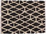 handmade Modern Moroccan Dark Brown Ivory Hand Knotted RECTANGLE 100% WOOL area rug 4x6'