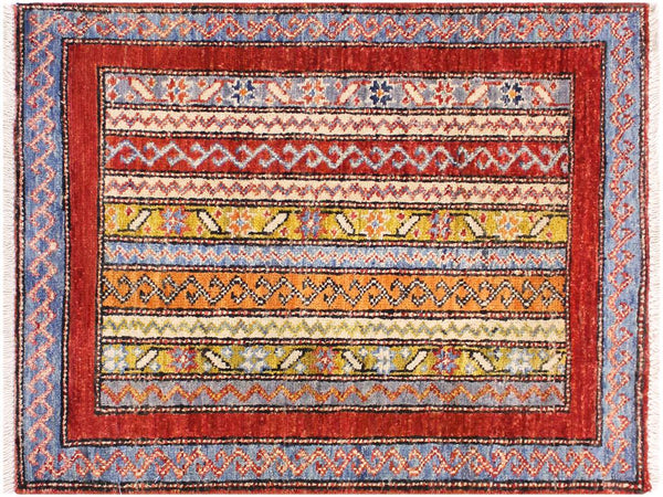 "A11842, 1'11"" X  2'11"",Geometric                     ,2' x 3',Rust,BLUE,Hand-knotted                  ,Pakistan   ,100% Wool  ,Rectangle  ,652671215810"