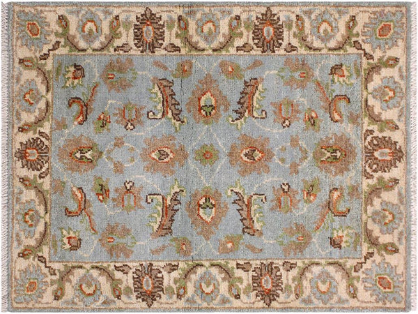 handmade Traditional Kafkaz Blue Ivory Hand Knotted RECTANGLE 100% WOOL area rug 2x3'