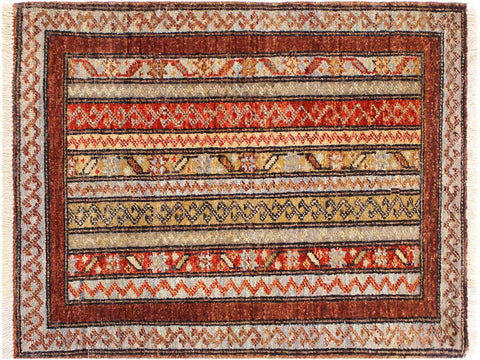 "A11857, 1'11"" X  2'10"",Geometric                     ,2' x 3',Brown,GREY,Hand-knotted                  ,Pakistan   ,100% Wool  ,Rectangle  ,652671215933"