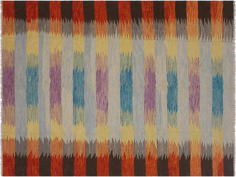 "A11861, 8' 3"" X  9' 9"",Geometric                     ,8' x 10',Blue,RUST,Hand-woven                    ,Pakistan   ,100% Wool  ,Rectangle  ,652671215964"