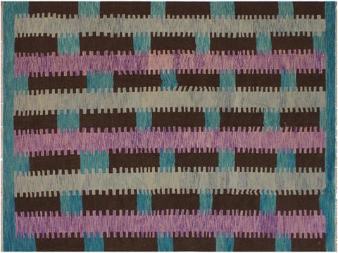 "A11864, 8' 7"" X  9'10"",Geometric                     ,9' x 10',Teal,BROWN,Hand-woven                    ,Pakistan   ,100% Wool  ,Rectangle  ,652671215995"