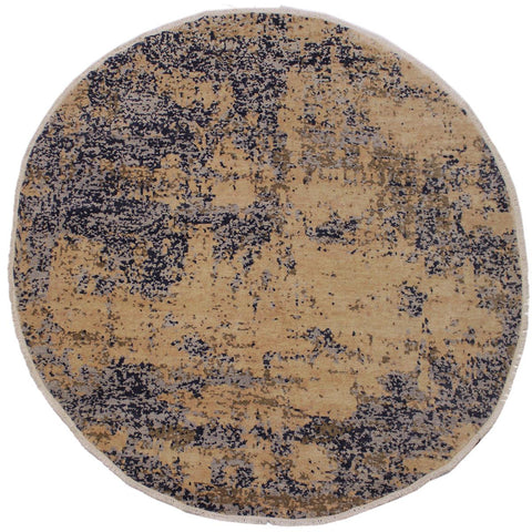 handmade Modern Kafkaz Brown Grey Hand Knotted ROUND 100% WOOL area rug 8x8'