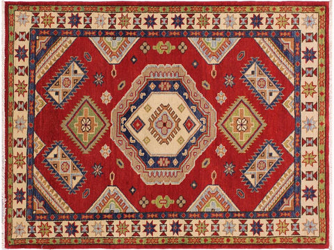 handmade Geometric Kazak Red Blue Hand Knotted RECTANGLE 100% WOOL area rug 3 x 5