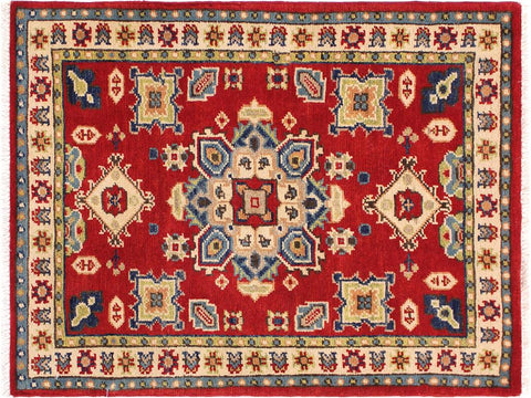 handmade Geometric Kazak Red Ivory Hand Knotted RECTANGLE 100% WOOL area rug 2 x 3
