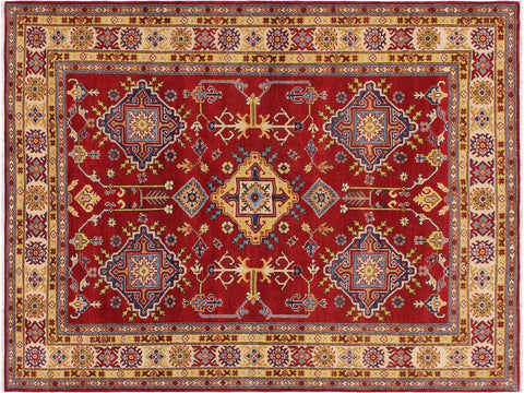 handmade Geometric Kazak Red Ivory Hand Knotted RECTANGLE 100% WOOL area rug 6 x 8